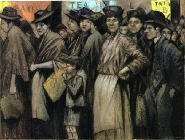 The Food Queue, CRW Nevinson, 1918