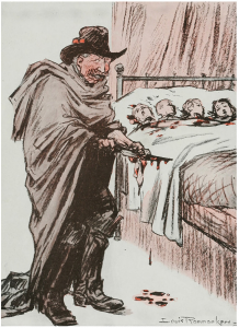 Louis Raemaekers illustrated many anti-German propaganda images during the First World War that were distributed across the world. This image shows Kaiser Wilhelm II slaughtering children in their sleep.
