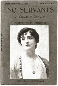 Picture of Lilian Braithwaite  Cover of S French edition of No Servants Published 1919
