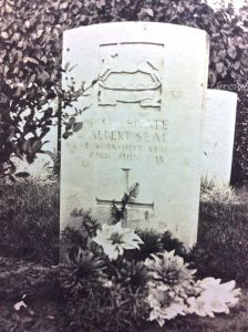 Albert's grave in Hospital Farm Cemetery, Ieper, Belgium